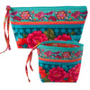 Kit RR bag-Peonies on turquoise velvet