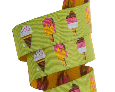 "Popsicles on Lime Green- - Jessica Jones - 7/8"" -by the yard"