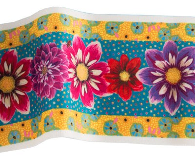 VB-Narrow Red Purple & Pink Dalias on Turquoise Printed Velvet