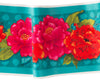 Red Peonies on Turquoise - Printed Velvet Border
