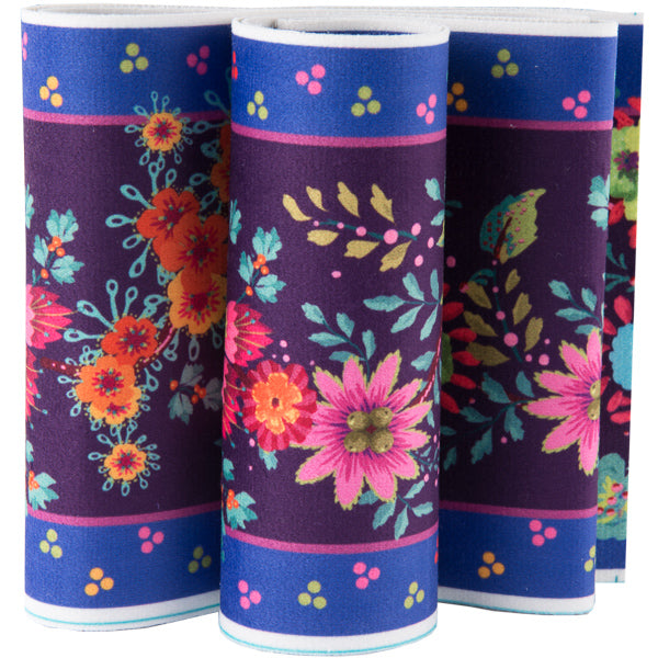 "5"" wide Enchanted Flowers/Purple - Printed Velvet Border"