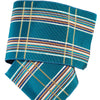 White and gold plaid with stripes on teal - by 1/2 yd