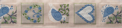 "Dove Heart - blue - 1-1/4"" - by the yard"