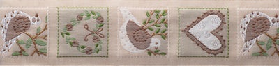 "Dove Heart - neutral - 1-1/4"" - by the yard"