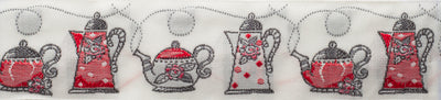 "Put the kettle on!- White - 1-1/4"" - by the yard"