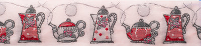 "Put the kettle on!- Pink - 1-1/4"" - by the yard"
