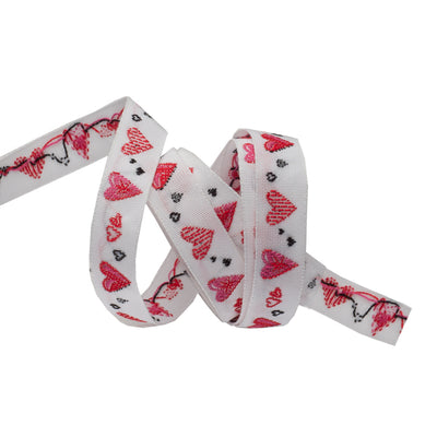 "Dancing love hearts  - Red - 3/8"" - by the yard"