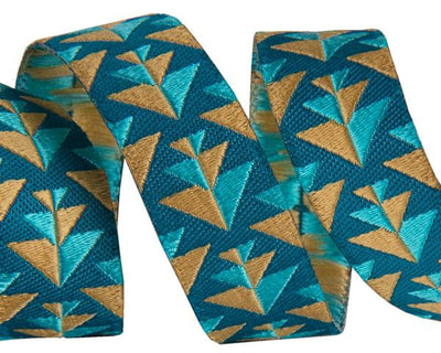 "Gold & Teal Positive Direction  - 5/8"" -by the yard"