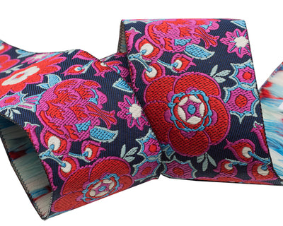 "Red Grand Bouquet on Navy 1.5"" - Amy Butler - 1-1/2""- by the yard"