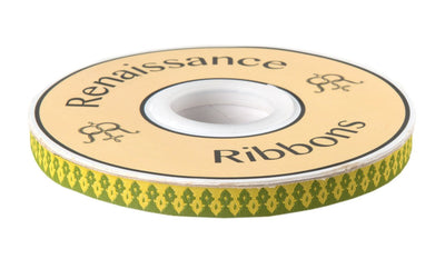 "Green on Gold Wanderer ribbon - 3/8"" -by the yard"