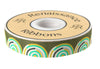 "Gold and Mint on Green Hypnotizer ribbon- Tula Pink - 7/8"" -by the yard"