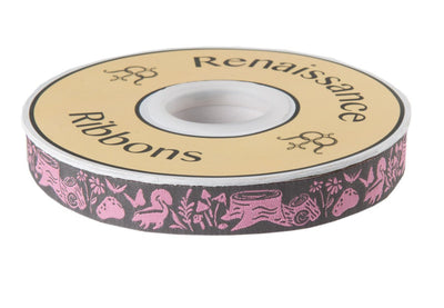 "Woodland Animal Ribbon Gray on Pink by Tula Pink - 5/8"" -by the yard"