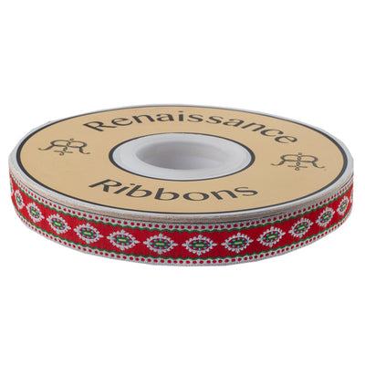 "Scalloped & dotted Edge Holiday Motif on Red - 5/8"" - Dena Designs"