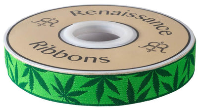 "Cannabliss Weed - Reversible design - 7/8"" -by the yard"