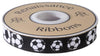 "Soccer Balls Black & White- by Raphael Kerley - 7/8"" -by the yard"