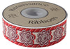 "Floral and stripes, red, eggplant and ecru- French General - 1-1/2""- by the yard"