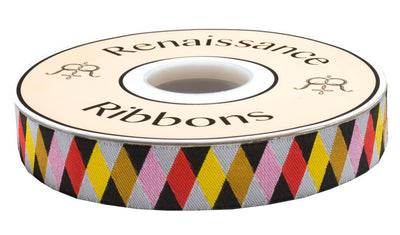 "Harlequin Ribbon by Jessica Jones - 7/8"" -by the yard"
