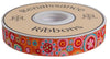 "Paperweight in orange, aqua and pink on red by Kaffe Fassett - 7/8"" -by the yard"