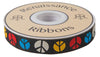 "Multicolor Peace on Black- by Raphael Kerley - 7/8"" -by the yard"