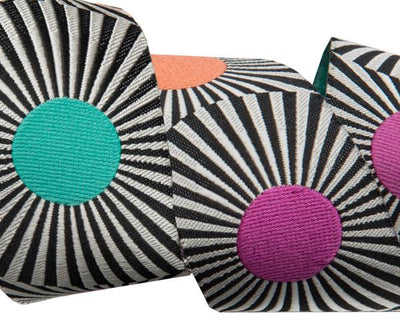"Wide Black stripes and dots  - 1-1/2""- by the yard"