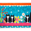 "6.5""Wide Tuxedo cats on blue"