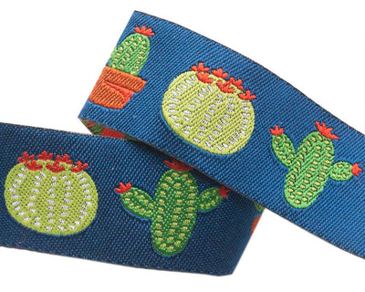 "Cactus on Dark Blue by Jessica Jones - 7/8"" -by the yard"