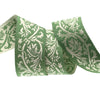 "Green and ivory Brocade ribbon  - 7/8"" - by the yard"