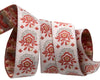 "Mini bouquet brick red on grey and ecru- French General - 5/8"" -by the yard"