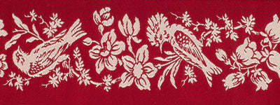 "Birds Pearl on Red - 2"" - French General - by the yard"