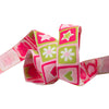 Hot pink and apple green hearts and stars - 7/8""