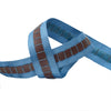 Steel blue grosgrain with brown strap - by 1/2 yd
