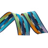 Ikat stripe grosgrain in cool colors - by 1/2 yd