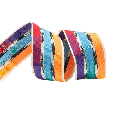 Ikat stripe grosgrain in hot colors - by 1/2 yd