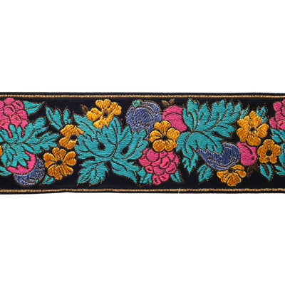 Vibrant garland flowers on black - by 1/2 yd