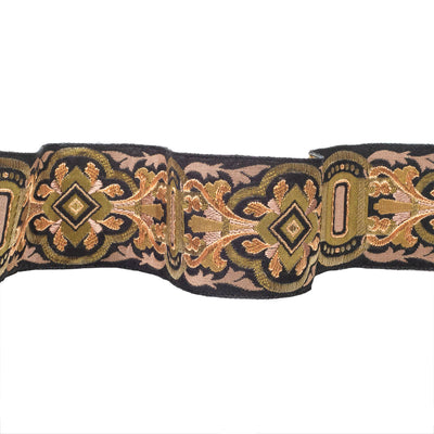 Swashbuckling motif in gold and copper - by 1/2 yd