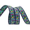 Dashes and multi-colored links on dark blue - by 1/2 yd