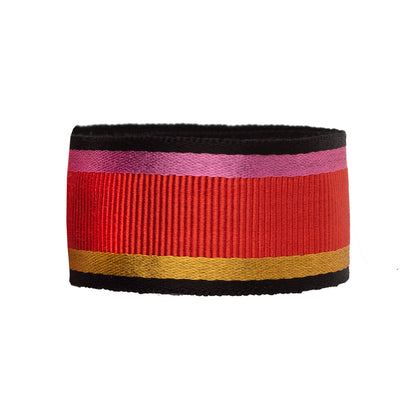 Bright red grosgrain with gold and pink - by 1/2 yd