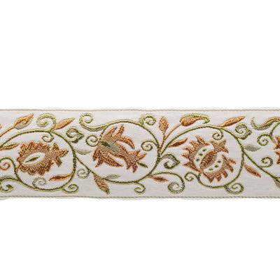 Jacobean scroll in gold and green on cream - by 1/2 yd