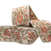 Jacobean scroll in coral and green on beige - by 1/2 yd