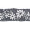 Daisy-like white flowers on slate-gray gauze - by 1/2 yd