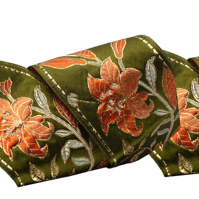 Matelasse lilies in orange ombre on green - by 1/2 yd