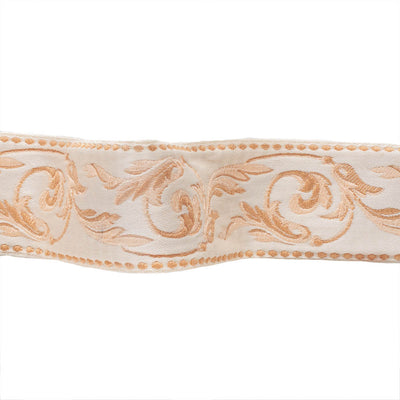 Classical leaf scrolls in shell pinks on ivory - by 1/2 yd