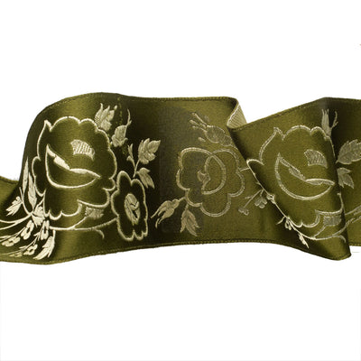 Peony flowers in chartreuse on olive green - by 1/2 yd