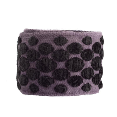 Chenille oval dots black on mauve- by 1/2 yd