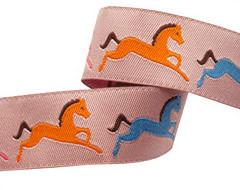 "Horses on peach by Jessica Jones - 7/8"" -by the yard"