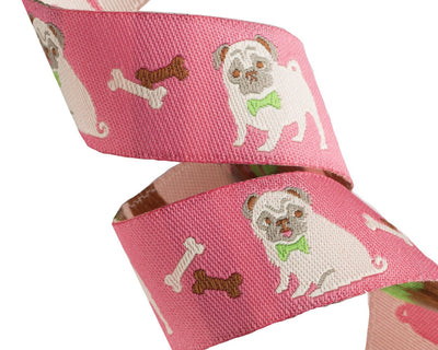 "Pug ribbon on pink - 7/8"" -by the yard"
