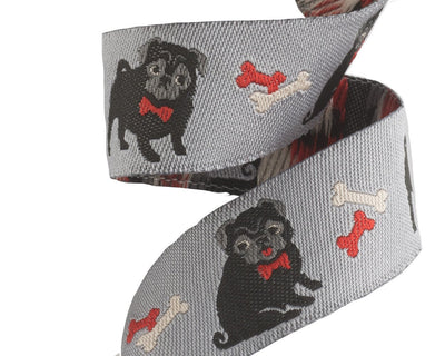 "Pug ribbon on grey - 7/8"" -by the yard"