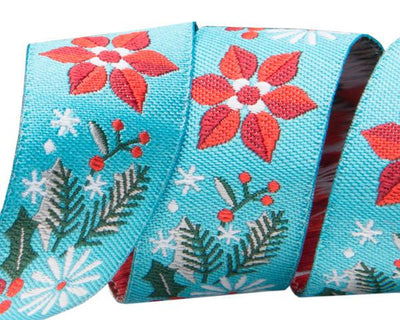 "Poinsettia Turquoise  - 7/8"" -by the yard"