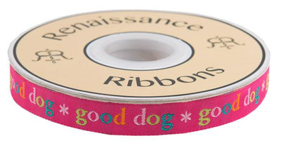 "Good Dog on Pink  - 5/8"" -by the yard"