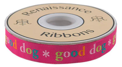 "Good Dog on Pink  - 7/8"" -by the yard"